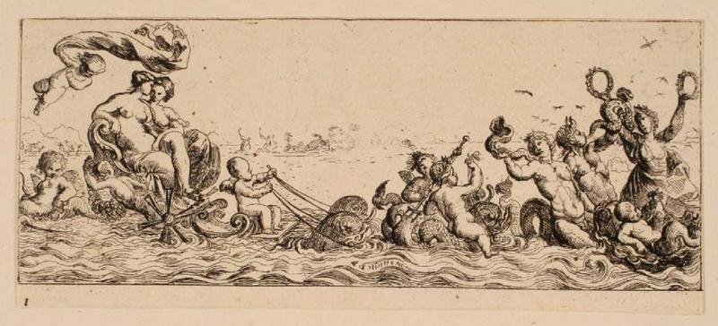 Ensemble dit Petites frises : Deux femmes assises dans une coquille ; Triomphes marins 1