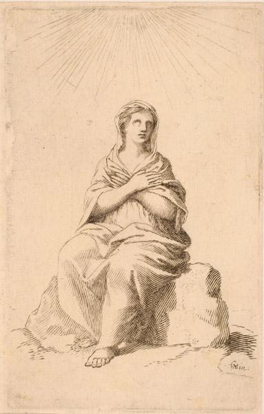 Femme en prières assise sur un rocher_0