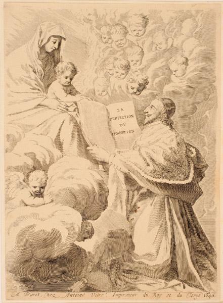 Titre-frontispice ; Richelieu présentant son livre à la Vierge et l'Enfant_0