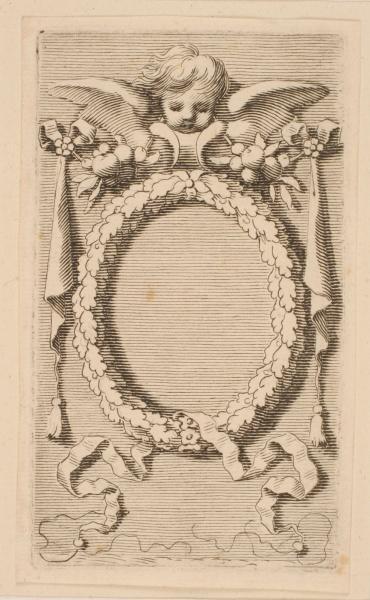 Titre-frontispice ; Médaillon circulaire timbré d'une tête d'ange