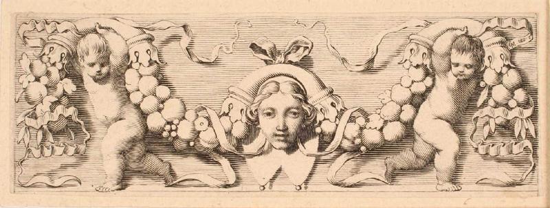 Bandeau orné d'un masque féminin enrubanné_0