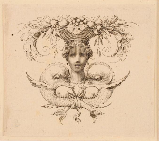 Cul-de-lampe orné d'un masque féminin (Cul-de-lampe dessiné pour l'Imprimerie royale)_0
