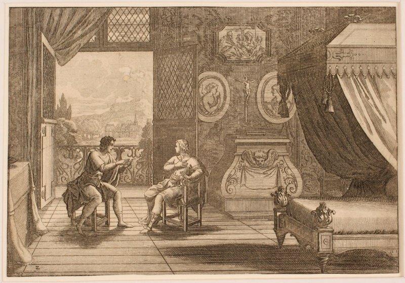 Philédon et Eusèbe discutant dans une chambre