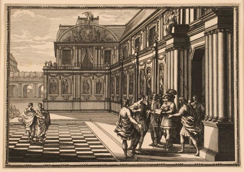 Philédon et Eusèbe discutant dans la cour du palais_0