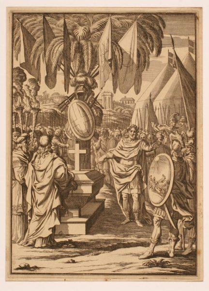 Empereur et soldats recueillis devant le cercueil et le trophée d'armes