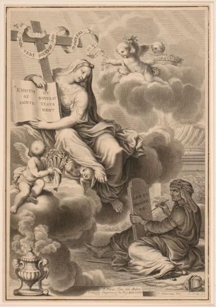Frontispice de l'ouvrage du père Nicolas Talon intitulé : L'Histoire sainte du Nouveau Testament