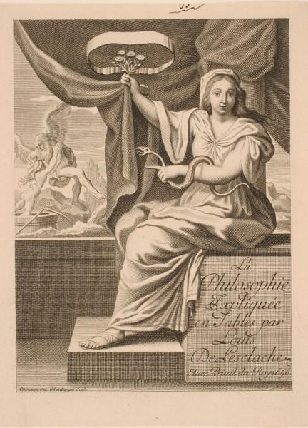 Frontispice de l'ouvrage de Louis de Lesclache intitulé : La Philosophie, expliquée en tables