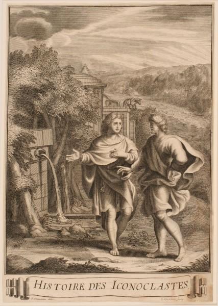 Frontispice de l'ouvrage de Louis Maimbourg intitulé : Histoire de l'hérésie des iconoclastes et de la translation de l'Empire aux Français