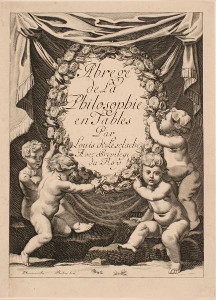Frontispice de l'ouvrage de Louis de Lesclache intitulé : Abrégé de la Philosophie en Tables_0