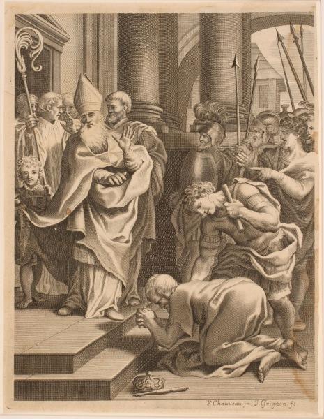 Prince déposant sa couronne aux pieds du pape_0
