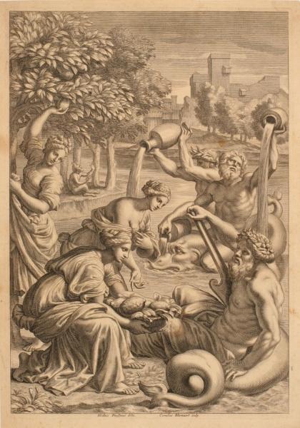 Dieu fleuve Benalus et les nymphes du lac de Garde ; Nymphes du lac de Garde offrant des citrons_0