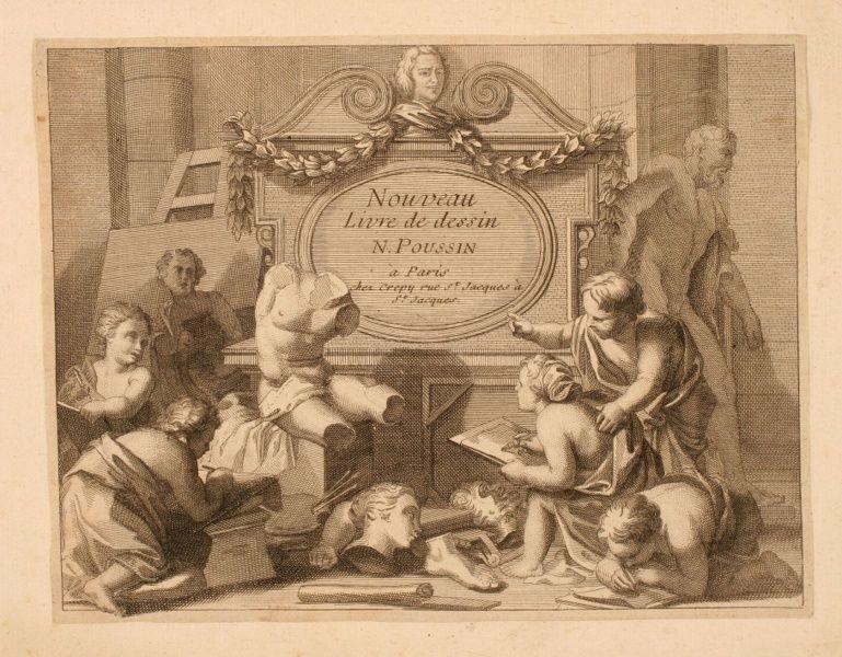 Frontispice d'un recueil intitulé : Nouveau / Livre de dessin / N. Poussin