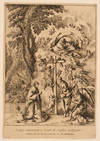 Ange désignant à Joseph le chemin vers l'Egypte ; Enfant Jésus embrassant la Croix portée par les anges