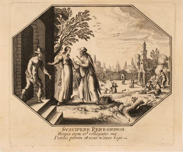 Vie du Christ (03) : SVSCIPERE PEREGRINOS ; Couple offrant l'hospitalité au Christ_0