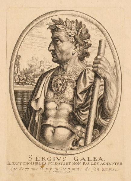 Ensemble de trois portraits d'empereurs romains : Sergius Galba ; Portrait de Sergius Galba