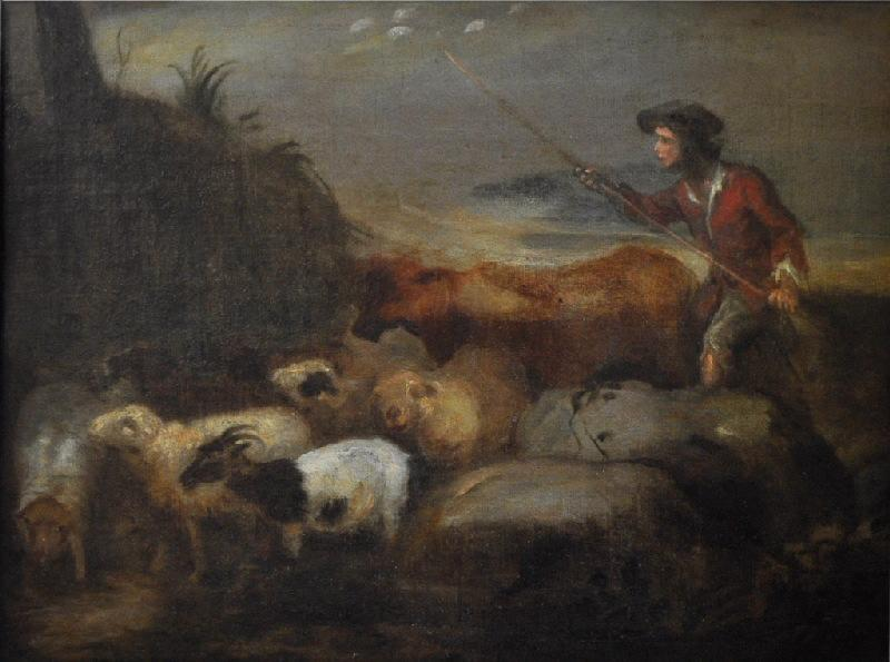 Berger conduisant son troupeau_0