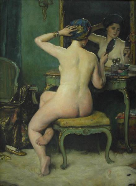 BOMPARD Maurice (peintre) : Femme à sa toilette (de dos)