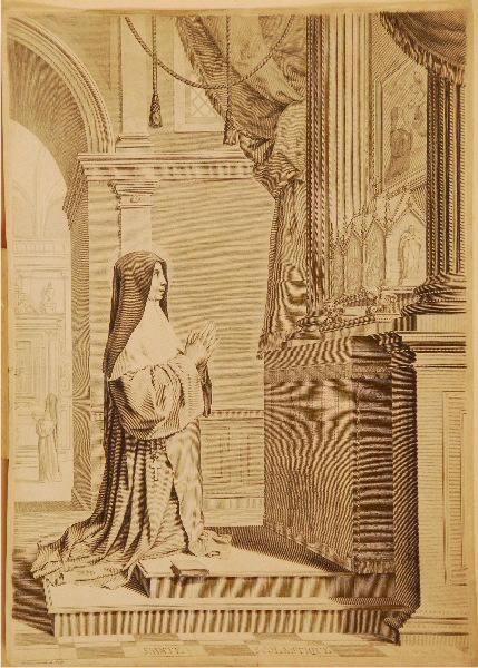 Sainte Scolastique à genoux devant un autel_0