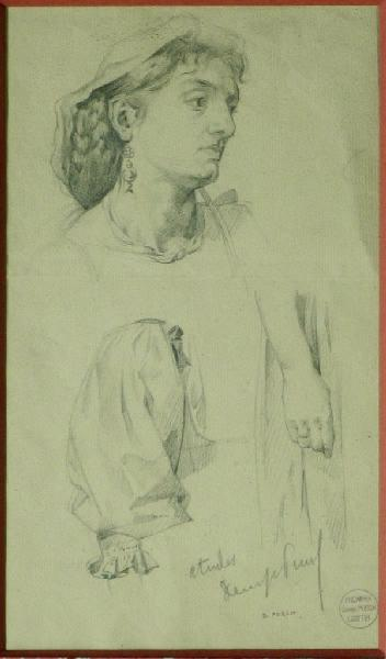 PUECH Denys (dessinateur) : Etude, Femme au voile avec bijoux