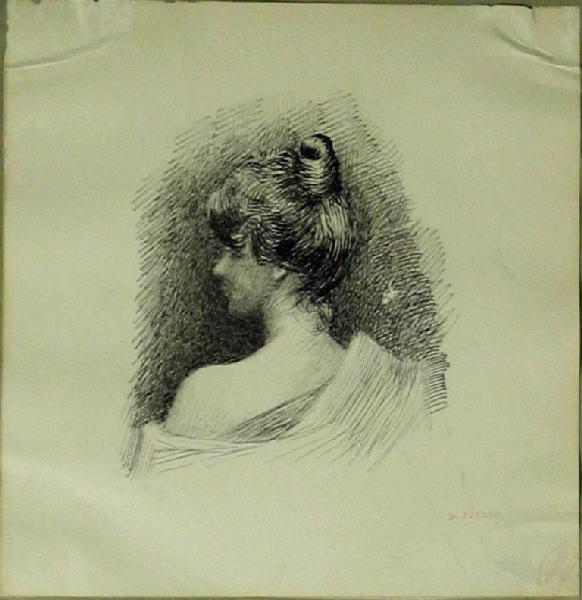 PUECH Denys (dessinateur) : Portrait d'une jeune élégante (De dos)