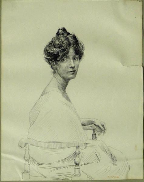 Portrait d'une jeune élégante (Assise de profil)_0