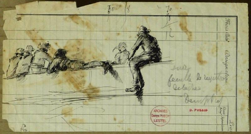 PUECH Denys (dessinateur) : Personnages assis sur un mur
