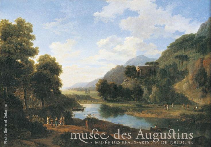 Paysage historique ; les habitants des montagnes du Taygete célèbrent une fête dans le temple de Bacchus_0
