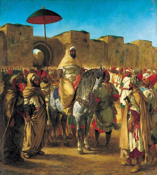 Moulay Abd-Er-Rahman, sultan du Maroc, sortant de son palais de Meknes, entouré de sa garde et de ses principaux officiers_0