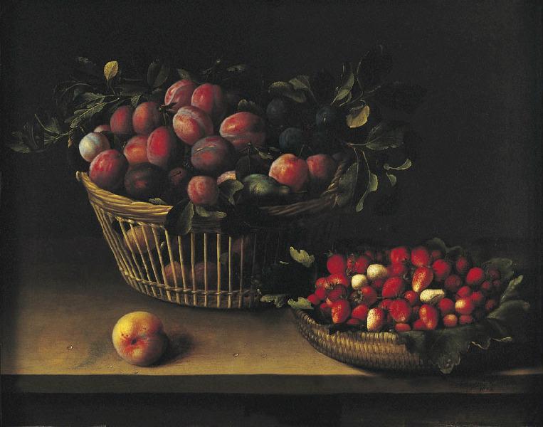 Corbeille de prunes et panier de fraises ; fruits_0