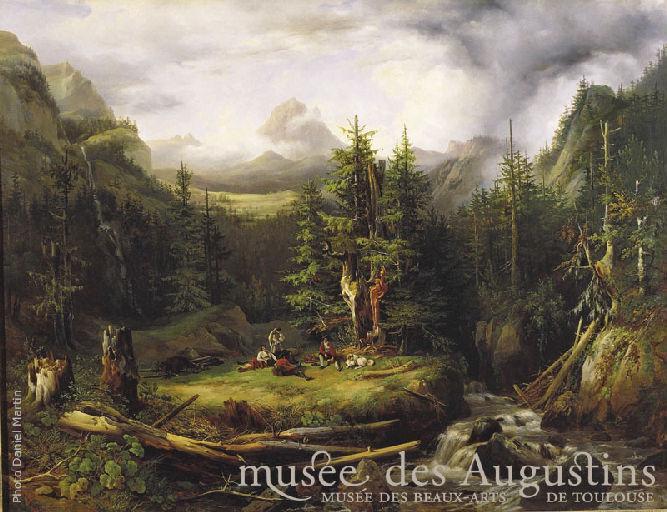 Vue du Pic du Midi de Pau et de la forêt de Gabas (Basses-Pyrénées)_0