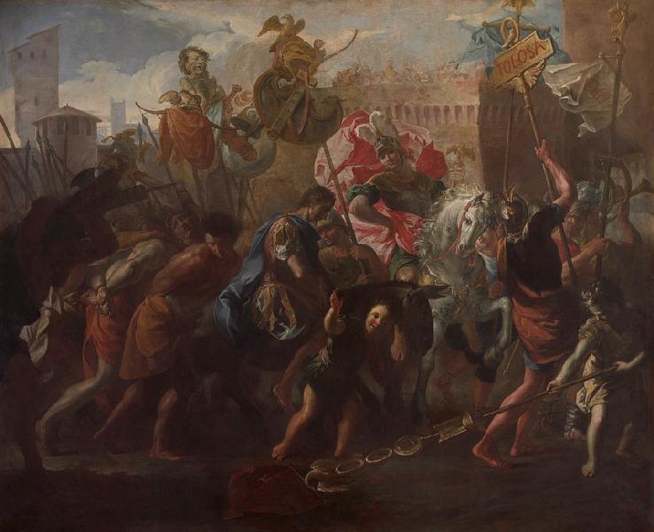 Le roi Théodoric Ier mène le comte Litorius captif à Toulouse_0