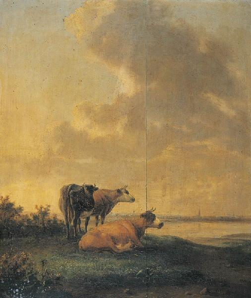 Vaches au bord d'une rivière_0