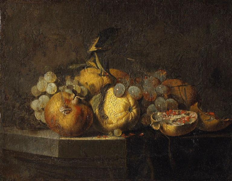 Nature morte avec grenades (Titre de David Fiozzi.) ; Tableau de fruits_0