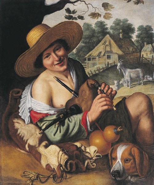 Berger riant tenant une cornemuse (Titre de David Fiozzi.) ; Le joueur de musette_0