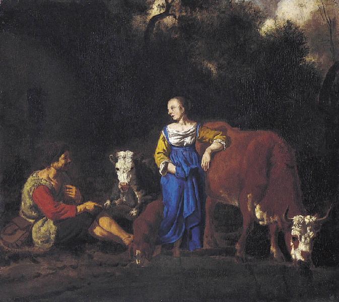 Berger et vachère (Titre de David Fiozzi.) ; Scène pastorale_0