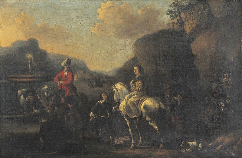 Halte de cavaliers (Titre de David Fiozzi.) ; Halte à la fontaine_0