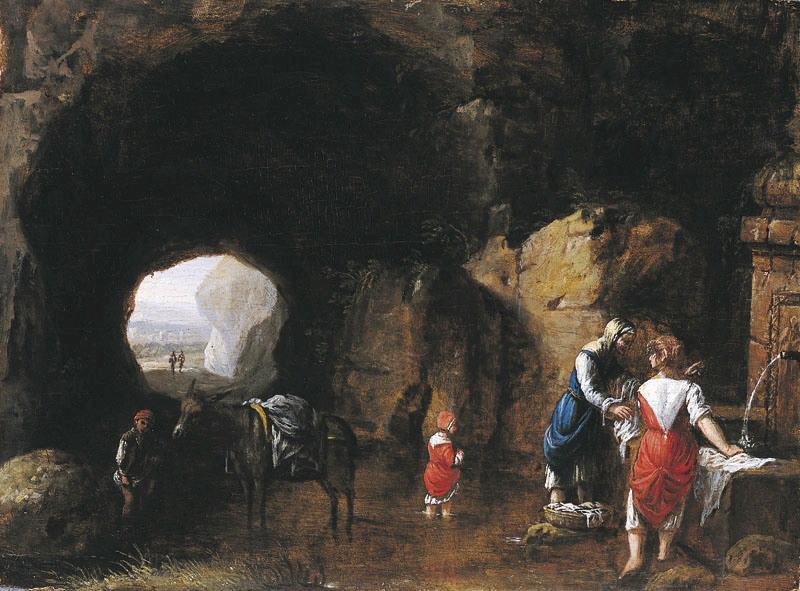 Lavandières dans une grotte (Titre de David Fiozzi) ; Le lavoir_0