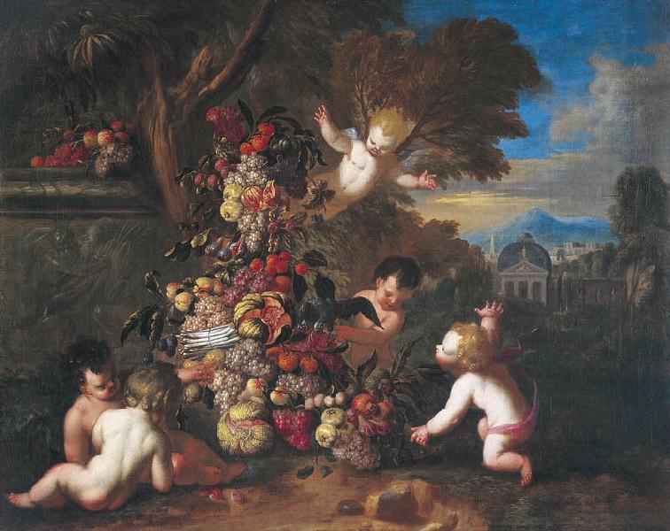 Guirlandes de fruits avec amours 1 (Titre de David Fiozzi.) ; Amours nouant une guirlande_0