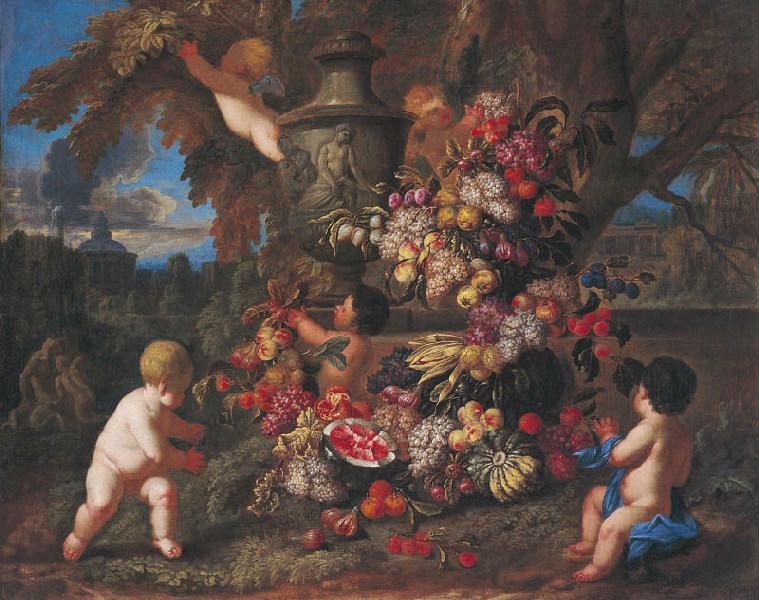 Guirlandes de fruits avec amours 2 (Titre de David Fiozzi) ; Amours tressant une guirlande_0