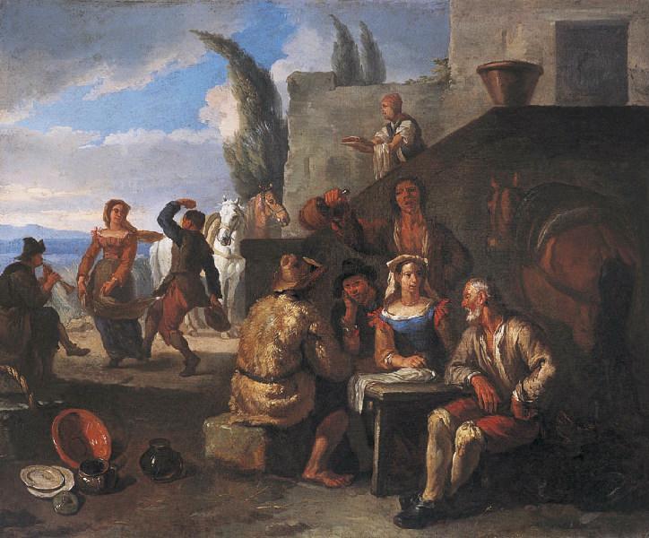 Buveurs et danseurs devant une auberge (Titre de David Fiozzi) ; La halte à l'auberge_0