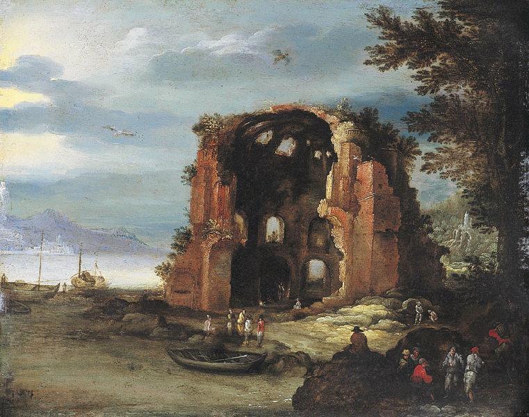 Paysage avec le temple de Minerva Medica (Titre de David Fiozzi.) ; Vue du temple de Minerva Medica, à Rome_0