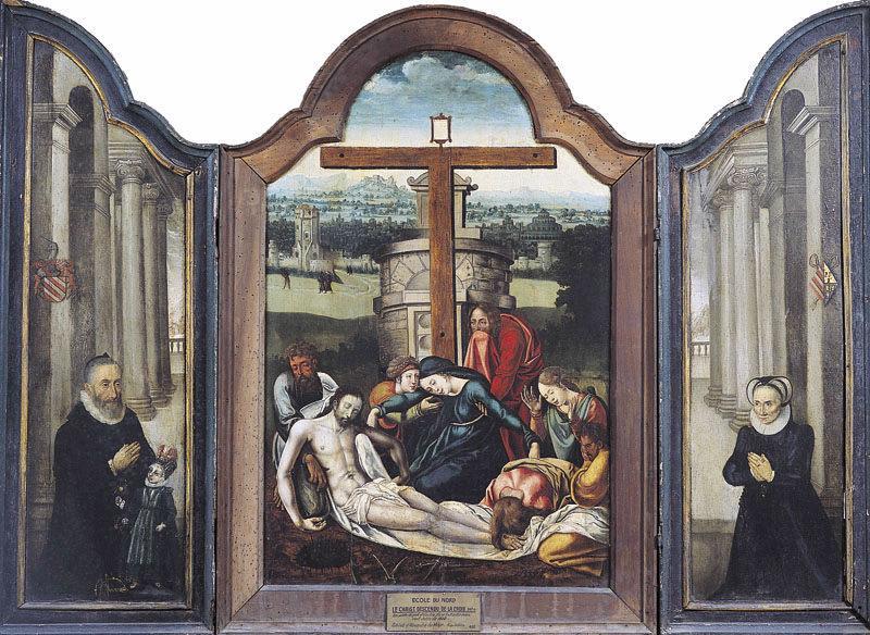 Christ descendu de la croix, donateurs ; Le Christ descendu de la Croix