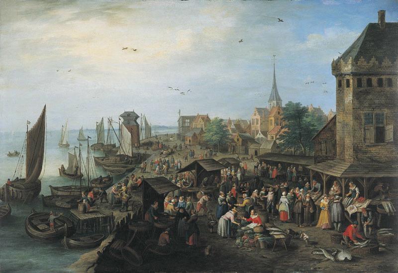Marché au poisson au bord de la mer_0