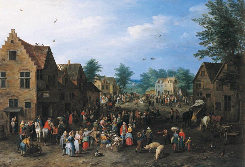 Marché sur une place de village_0
