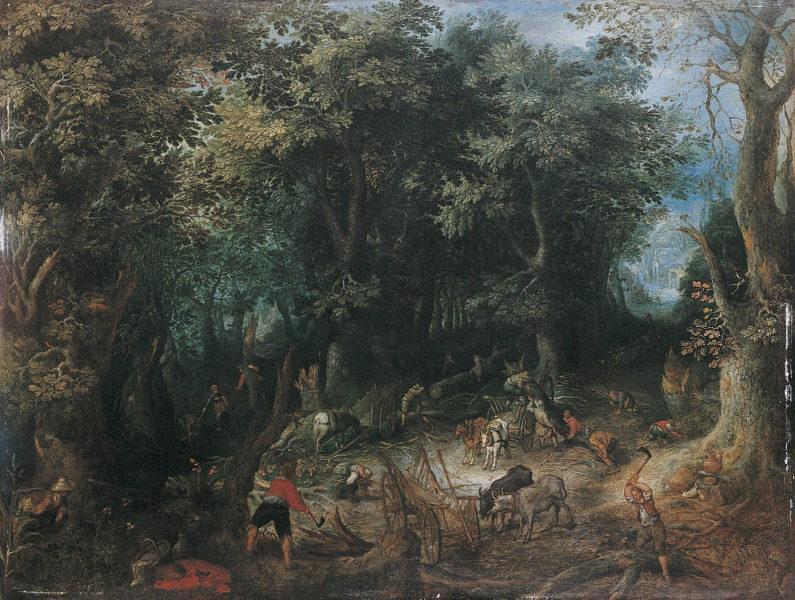 Paysage de forêt avec bûcherons (le miracle d'Elisée) (Titre de David Fiozzi.) ; Bûcherons en forêt