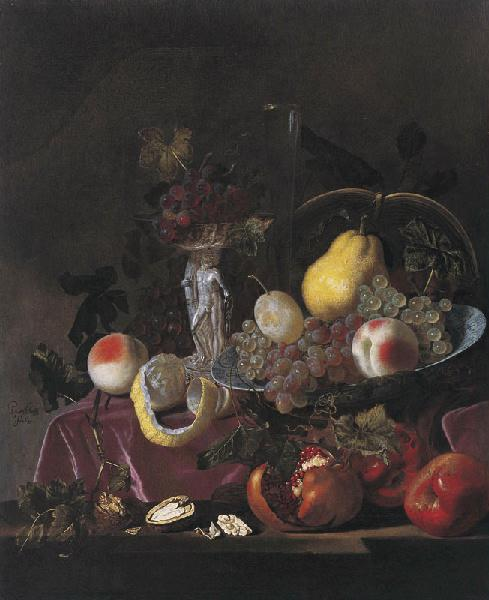 Nature morte de fruits. Raisins, grenades et melons_0
