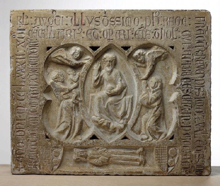 Bas-relief funéraire et épitaphe de Maître Aymeric ; Fragment de dalle de chancel (Aymery (?-1282), chanoine, chancelier et ouvrier de Saint-Etienne)_0