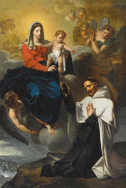 ROQUES Joseph : Saint Simon Stock recevant le scapulaire des mains de la Vierge