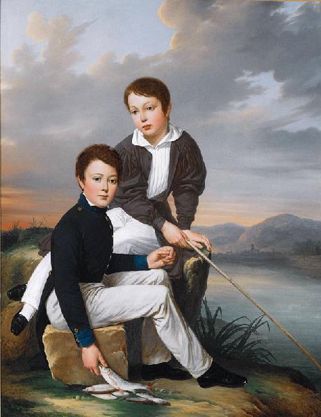 PEYRANE Philippe : Ernest et Léopold, fils du peintre, pêchant à la ligne