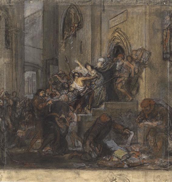 ROBERT-FLEURY Joseph Nicolas : Etude pour le 'pillage à la Giudecca de Venise'